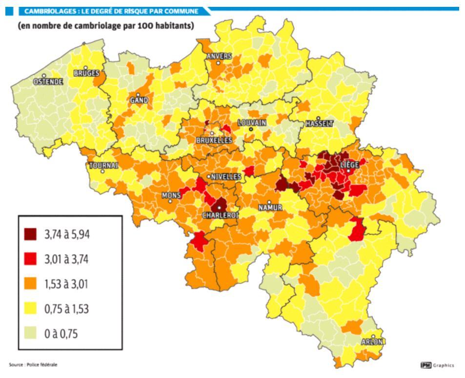 Le nombre de cambriolages selon les régions de Belgiques